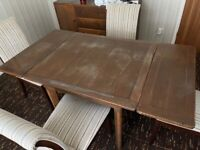 Vintage Retro Solid Wood Extendable Dining Room Table