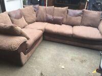 Corner sofa faux leather and cloth
