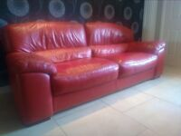 Red Two and Three seater Sofa