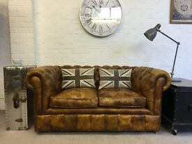 Tobacco tan bespoke made Chesterfield sofa. Can deliver