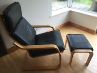 Leather Rocking Chair & Foot Stool in Excellent Condition