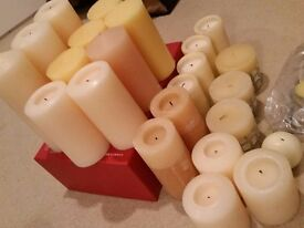 Mixed lot of Candles. Tall, Medium & Small Pillars. Some used for 1 hour.