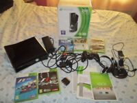 XBOX 360 S 250 GB CONSOLE BOXED BUNDLE,5 GAMES,CHARGER,CONTROLLER