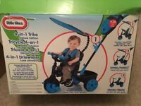 new 4 in 1 deluxe edition little tykes bicycle in bright blue and black