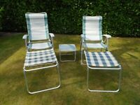 2 Reclining Camping Chairs with Footstools