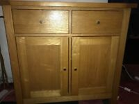 Two drawer/ two door cupboard in natural ash wood