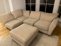 L-shaped 4 seater sofa and footstool - Creme fabric