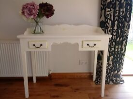 White painted 2-drawer hall/console table