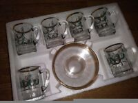 Boxed 12 piece glass coffee service