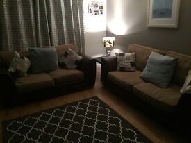 2+3 fabric/leather sofas