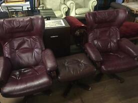 Pair of reclining relaxer chairs & footstool