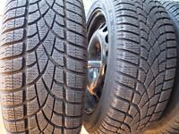 """4 Nearly New Dunlop SP Sport Winter Tyres on 16"""" Steel Wheels with stand"""