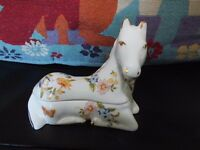 Rare Vintage Aynsley Cottage Garden Horse Trinket Box
