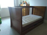 Cot Bed (Mamas & Papa Ocean cot bed dark wood)