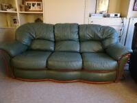 Sofa - Leather, three piece suit in great condition