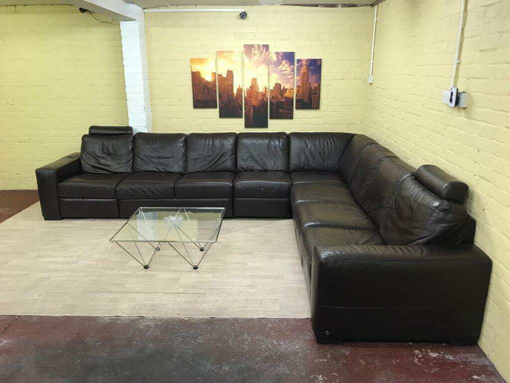 bespoke natuzzi brown leather corner sofa in harrow london gumtree