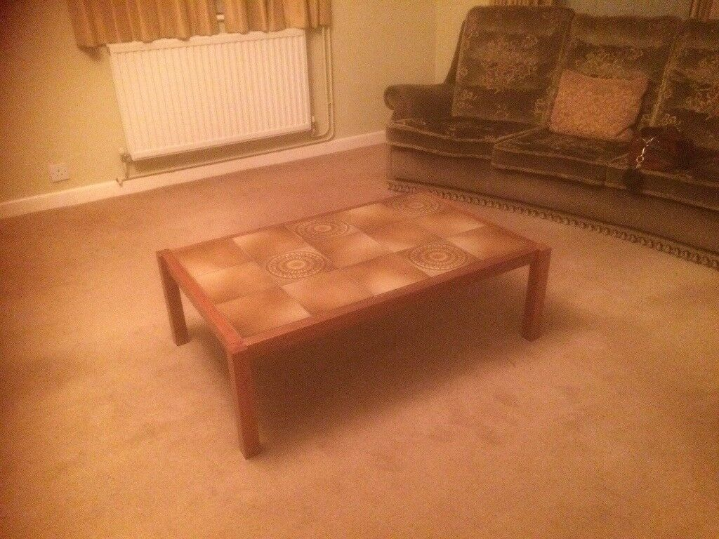 Genuine 1970's coffee table in solid wood and tiled top