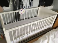 Mothercare Cot Bed with storage drawer, mattress and covers