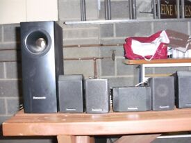 PANASONIC SURROUND SOUND SPEAKERS AND SUB WOOFER PLUS WIRING WILL WORK ON ANY SYSTEM