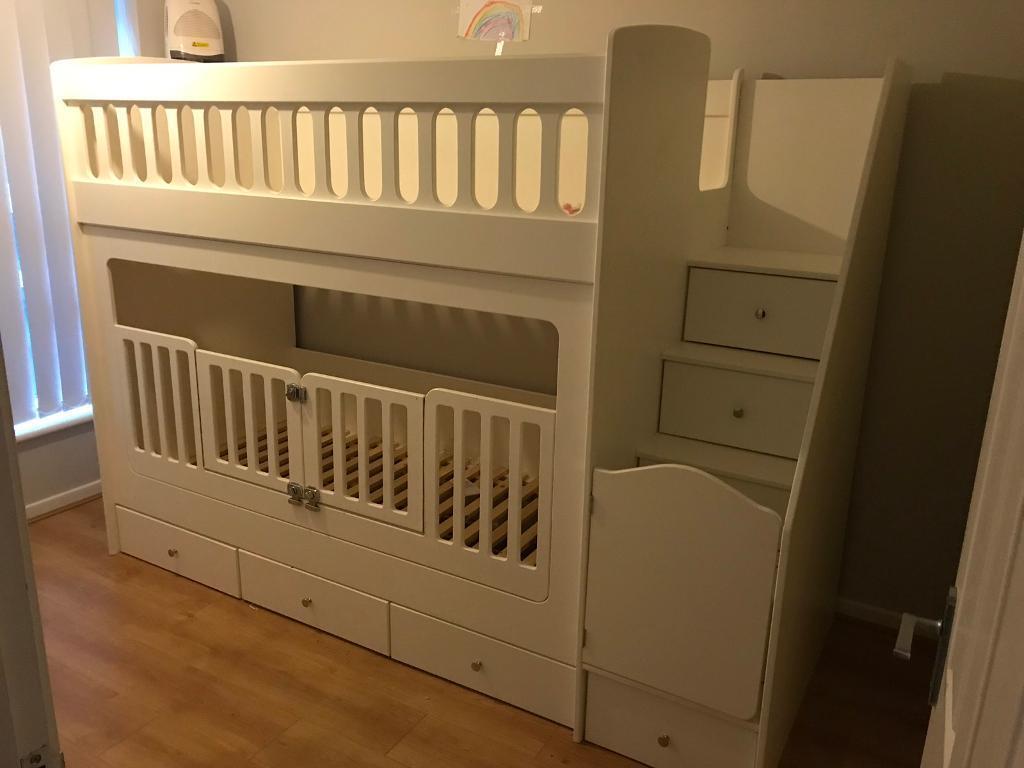 sale retailer 95793 55baf Solid wood bunk beds with cot gates BUYER MUST DISMANTLE | in Longfield,  Kent | Gumtree