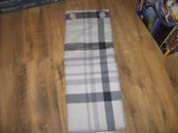 brand new down check natural and gray lined eyelet curtains 46in x 54in drop.