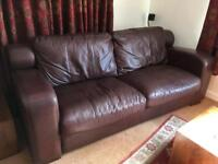 3 Seater & 1 Seater Dark Brown Leather Sofas - Free to collector
