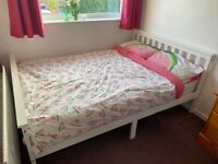 White double bed frame and mattress