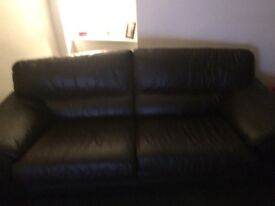 Brown leather 2&3 seater