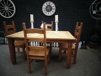 RUSTIC CORONA PINE LARGE DINING TABLE WITH 4 RUSTIC DINING CHAIRS EXTREMELY SOLID SET