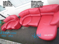 red real leather large 3 seat +2 + stool in vgc retro look its 2 yrs old vgc