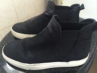 Zara sneaker boots in black pony hair