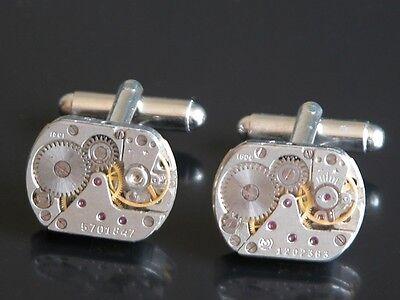 Steampunk Cufflinks Hipster Punk Silver Tone Watch Movement Parts Gear