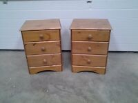 New PAIR bedside cabinets, pine. Three drawers. Bargain as one small mark, can deliver.