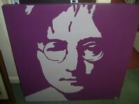 Large Original JOHN LENNON painting on canvas 75 x 75 cms Collect NORTHAMPTON