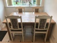 Must go asap 5ft solid wood farmhouse table and 4 shabby chic chairs