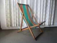 VINTAGE TRADITIONAL STRIPED DECKCHAIR WITH PLASTIC STYLE FABRIC SEAT No2