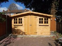 12x8FT SUMMERHOUSE GARDEN SHED TIMBER HEAVY DUTY DOUBLE DOOR FULLY ASSEMBLED ERECTED
