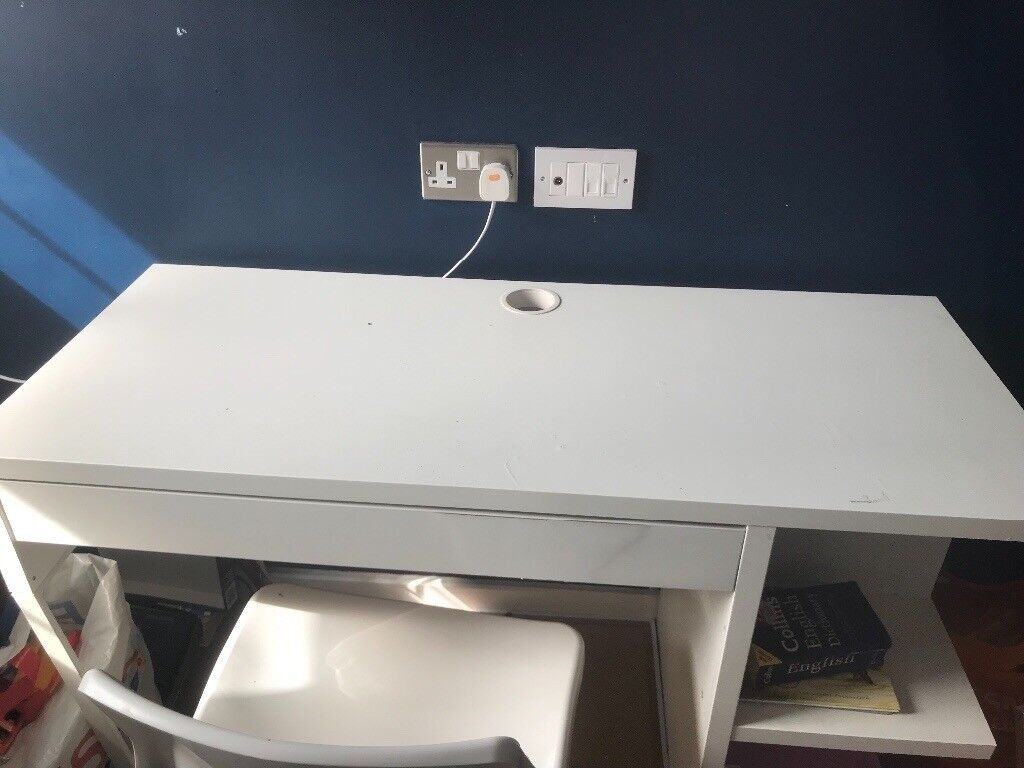 CHILDRENS STUDY TABLE WITH SIDE STORAGE SHELVES AND LARGE DRAWER ...