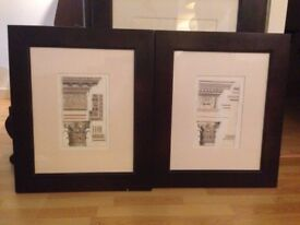 Pair of Coloured, Greek, Corinthian Order Architecture Framed Prints