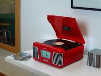 Steepletone Roxy 1 RX1 USB Nostalgic 1960s Style Record Player Turntable Glossy Red
