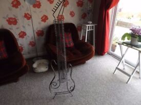 Metal Guitar Shaped CD Rack, can hold 48 CD's