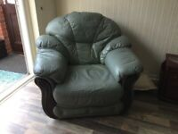 Free green leather armchair