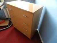 teak effect 4 drawer chest of drawers