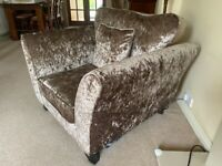 Large armchair love seat crushed velvet pearl DFS excellent condition