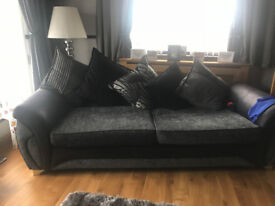 """2 X 4 Seater DFDS """"Matinee"""" Sofas in Black/silver. £425 ono"""