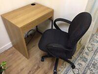 IKEA MICKE Computer Desk Oak Effect With Office Spinning Wheels Chair