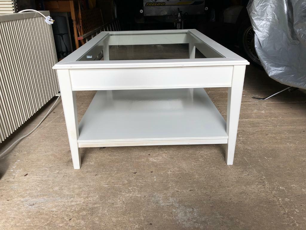 Ikea White Coffee Table Glass Top Good Condition In