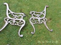 cast iron bench ends ready for restoration in good used condition