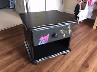 Bedside table upcycled black butterflies