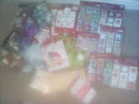 Unused christmas tags and paper ect.